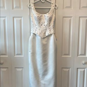 Sincerity Ivory and lilac beaded tank wedding gown